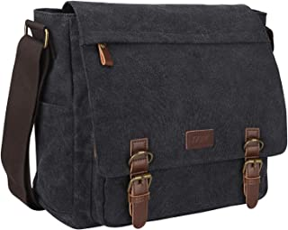 S-ZONE Vintage Canvas Messenger Bag School Shoulder Bag for 13.3-15inch Laptop Business Briefcase