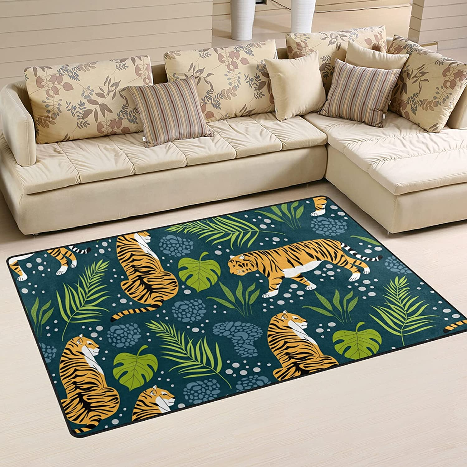Award-winning store Tropical Tigers Leaves Large Max 80% OFF Soft Rugs Rug Playmat Nursery Area