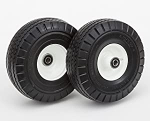 Lapp Wheels,Heavy Duty Comercial Grade, 4.10/3.50-4 Flat Free Tires, Hand Truck, Utility cart Replacement Wheel, Size 2-1/4'' Offset hub, 5/8'' Bearing, 2 Pack