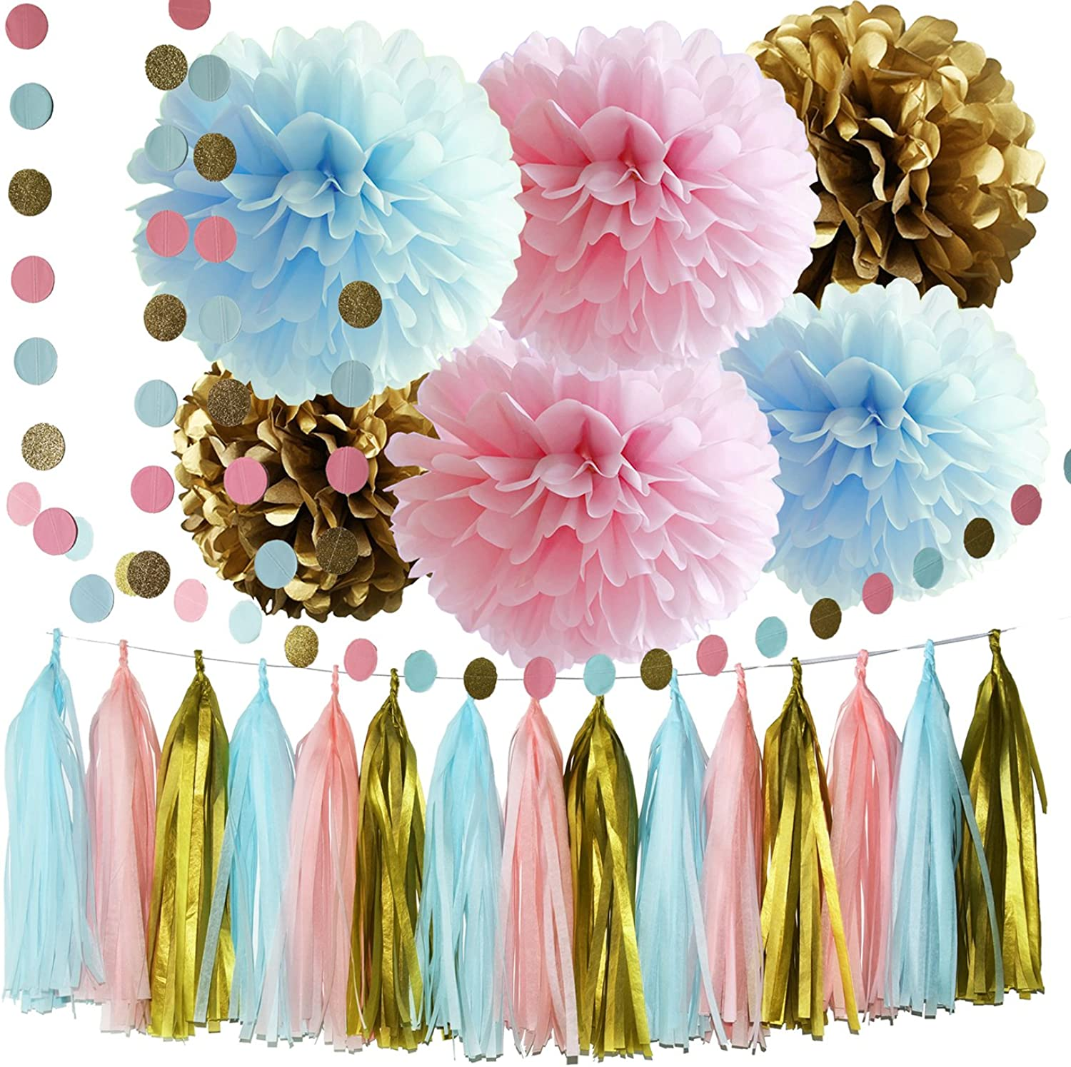 Gender Reveal Party Supplies Boy or Girl Baby Shower Decorations Pink bluee gold Tissue Paper Pom Pom Circle Garland Tassel Garland Gender Reveal Party Decorations