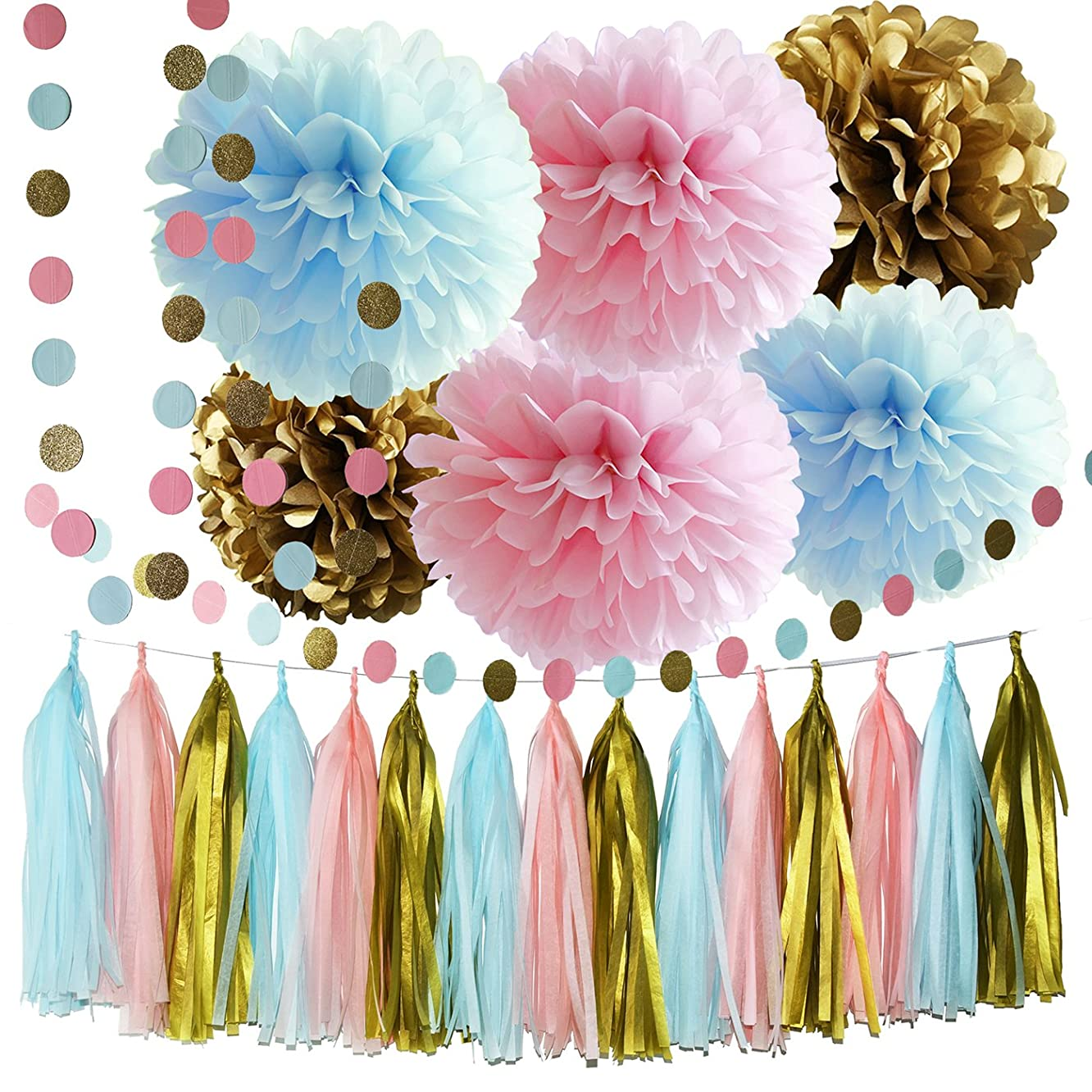 Gender Reveal Party Supplies Boy or Girl Baby Shower Decorations Pink Blue Gold Tissue Paper Pom Pom Circle Garland Tassel Garland Gender Reveal Party Decorations