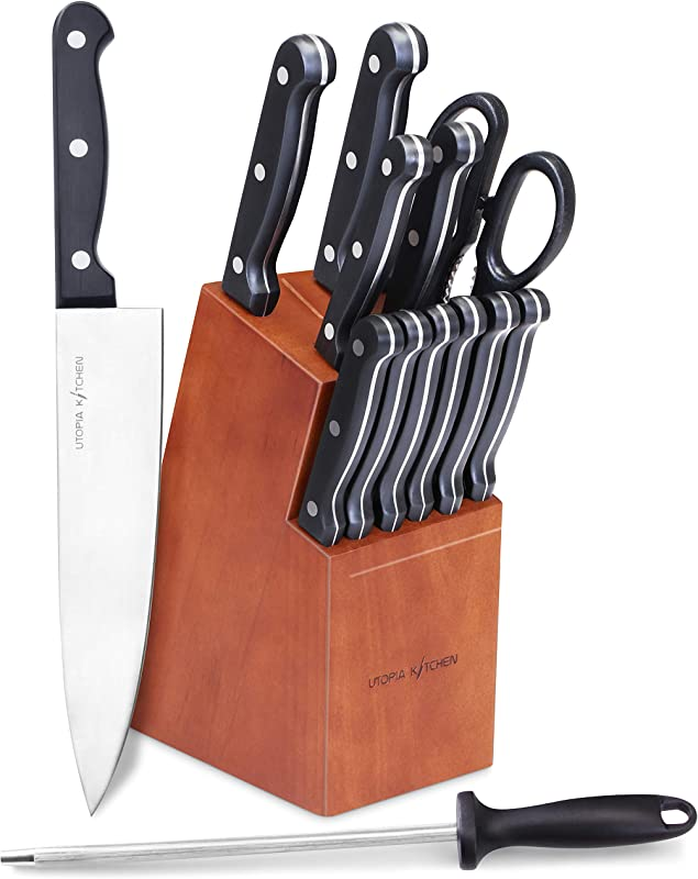 Utopia Kitchen Knife Set 14 Piece Knife Block Set With Walnut Stained Block