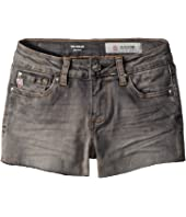 The Shelby Fray Shorts w/ Raw Hem in Graphite (Big Kids)