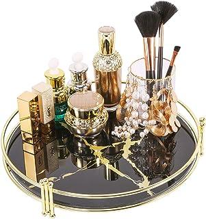 Zosenley Makeup Organizer Tray, Decorative Glass Vanity Tray, Round Cosmetic Storage for Jewelry, Makeup, Perfume, Decor a...