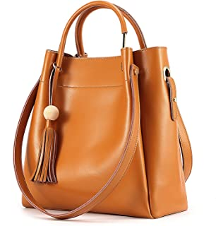 Women's Genuine Leather Hobo Tote Shoulder Bag with Tassel