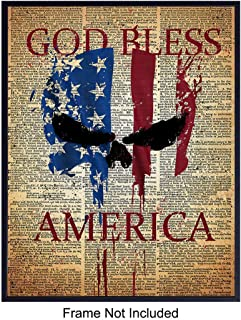 Patriotic American Flag Punisher Dictionary Art Print - Vintage Upcycled God Bless America Wall Art Poster- Great Home or Office Decor - Gift for Military Veterans, Vets, 4th of July - 8x10