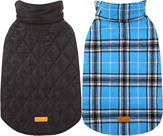Kuoser Cozy Waterproof Windproof Reversible British Style Plaid Dog Vest Winter Coat Warm Dog Apparel for Cold Weather Dog Jacket for Small Medium…