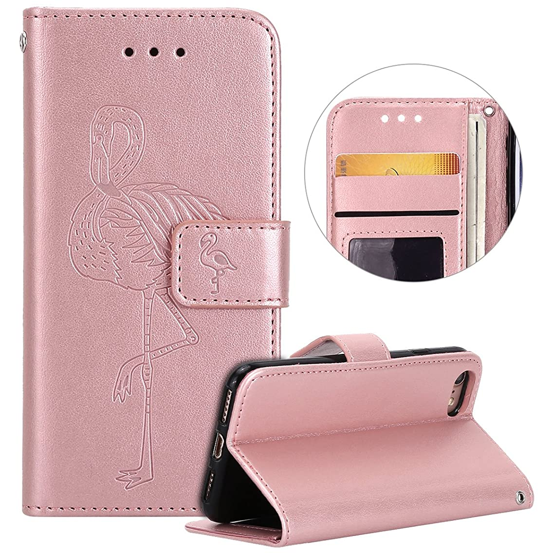 iPhone 7 Case,Case for iPhone 8, Surakey Flamingos Case with Credit Card Slots ID Holders Stand Magnetic PU Leather Wallet Flap Cover (Stand View Case) for Apple iPhone 7 / iPhone 8 - Rose gold