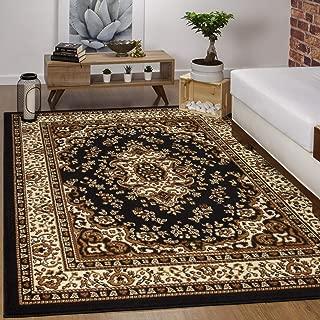 Antep Rugs Kashan King Collection Himalayas Oriental Polypropylene Indoor Area Rug (Black and Beige, 5' x 7')