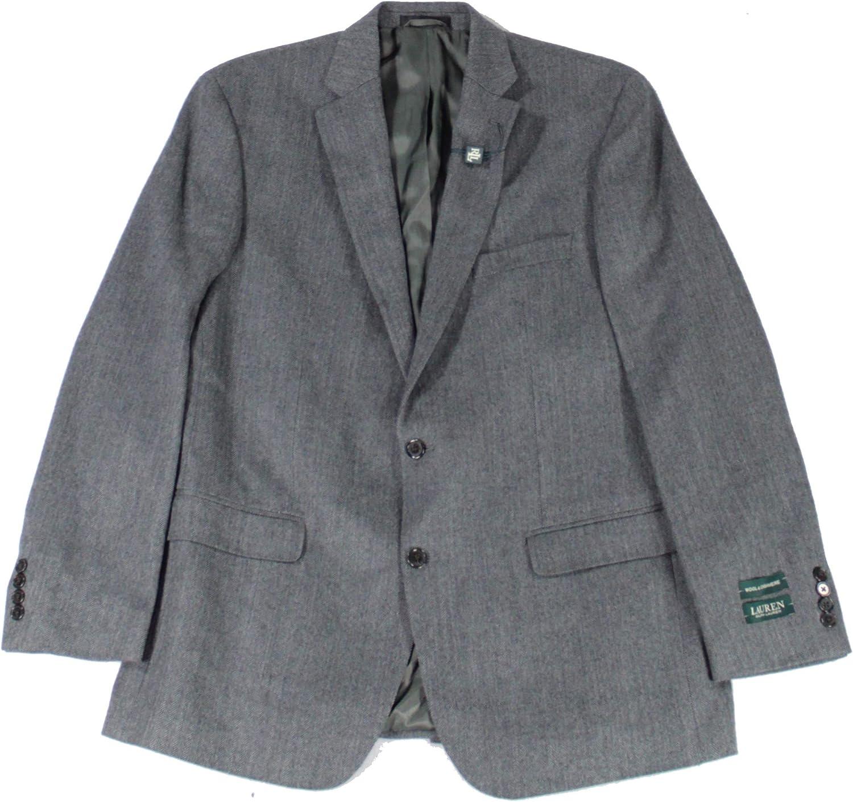 Lauren by Ralph Lauren Mens Blazer Long Two-Button Wool Gray 44