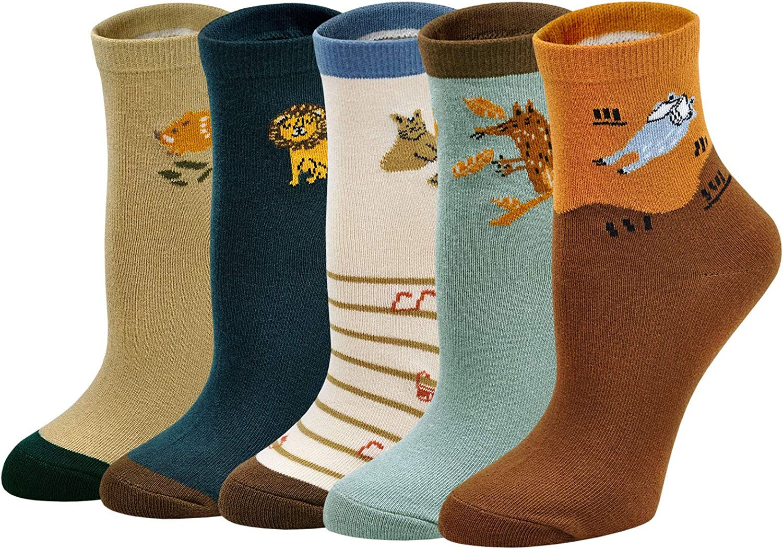ZAKASA Kids Boy Socks Fashion Truck Tractor Lion Cat Toddler Cartoon Cotton Socks 5 Pack 2-13 Years