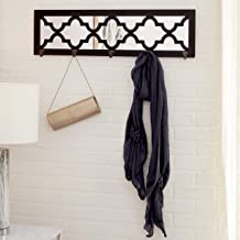 "CosmoLiving by Cosmopolitan 48567 Large Rectangular Glam Style Black Wood Wall Mirror with Hooks & Trellis Pattern | 31"" x 9"""