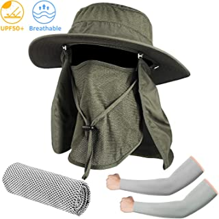 Fishing Hat, Men Women UPF 50+ Protection Outdoor Sun Hiking Hat with Removable Neck Flap and Face Cover Mask -Kit Include Cooling Arm Sleeves, Cooling Towel