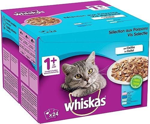 Whiskas Sélection aux Poissons en Gelée – Nourriture humide pour chat adulte – Alimentation complète en sachets fraîc...