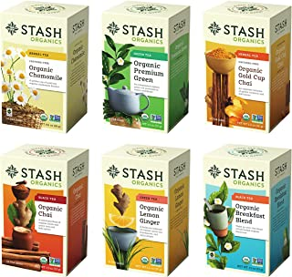 Stash Tea Organic Tea Six Flavor Assortment 18 Count Tea Bags in Foil (Pack of 6) Individual Tea Bag Variety Pack, Use in Teapots Mugs or Cups, Brew Hot Tea or Iced Tea