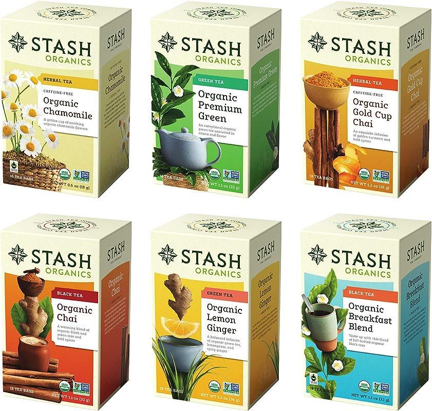 Stash Tea Organic Tea Six Flavor Assortment 18 Count Tea Bags In Foil Pack Of 6 Individual Tea Bag Variety Pack Use In Teapots Mugs Or Cups Brew Hot Tea Or Iced Tea