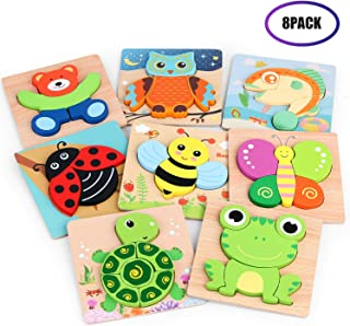 Toddlers 3D Wooden Jigsaw Puzzles, VSATEN Early Education Learning Toys Gifts Outdoor Indoor Toy with 8 Colorful Animals Patterns Safe Bright Shapes for Girls Boys 1 2 3 Years Old Kids (8 Packs)
