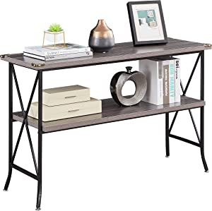 Industrial Sofa Console Table with Storage, 2-Tier High-Leg Wood and Metal Entry Tables with Open Shelves, Rustic Entryway/Hallway Table for Living Room (46 Inch, Grey)