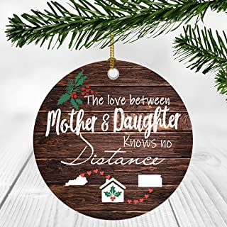 Merry Christmas Ornament Two State Map Kentucky Kansas - The Love Between Mother And Daughter Knows No Distance - Christmas Ideas Gift Long Distance Mom And Daughter Ornament 3