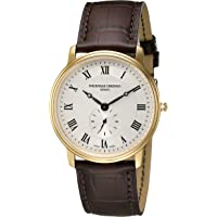 Frederique Constant Unisex Slim Line Analog Display Quartz Brown Watch
