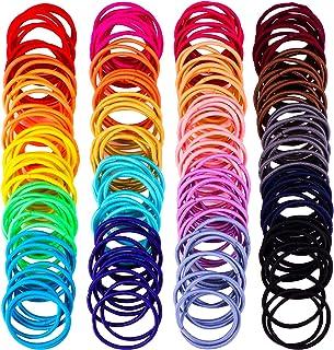 200 Pack No-metal Hair Elastics Hair Ties Ponytail Holders Hair Bands (2 mm, Multicolor)