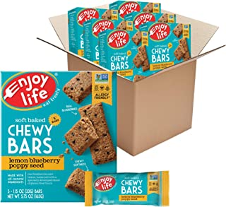 Enjoy Life Chewy Bars, Lemon Blueberry Poppyseed Nut Free Bars, Soy Free, Dairy Free, Non GMO, Gluten Free, 6 Boxes (30 To...