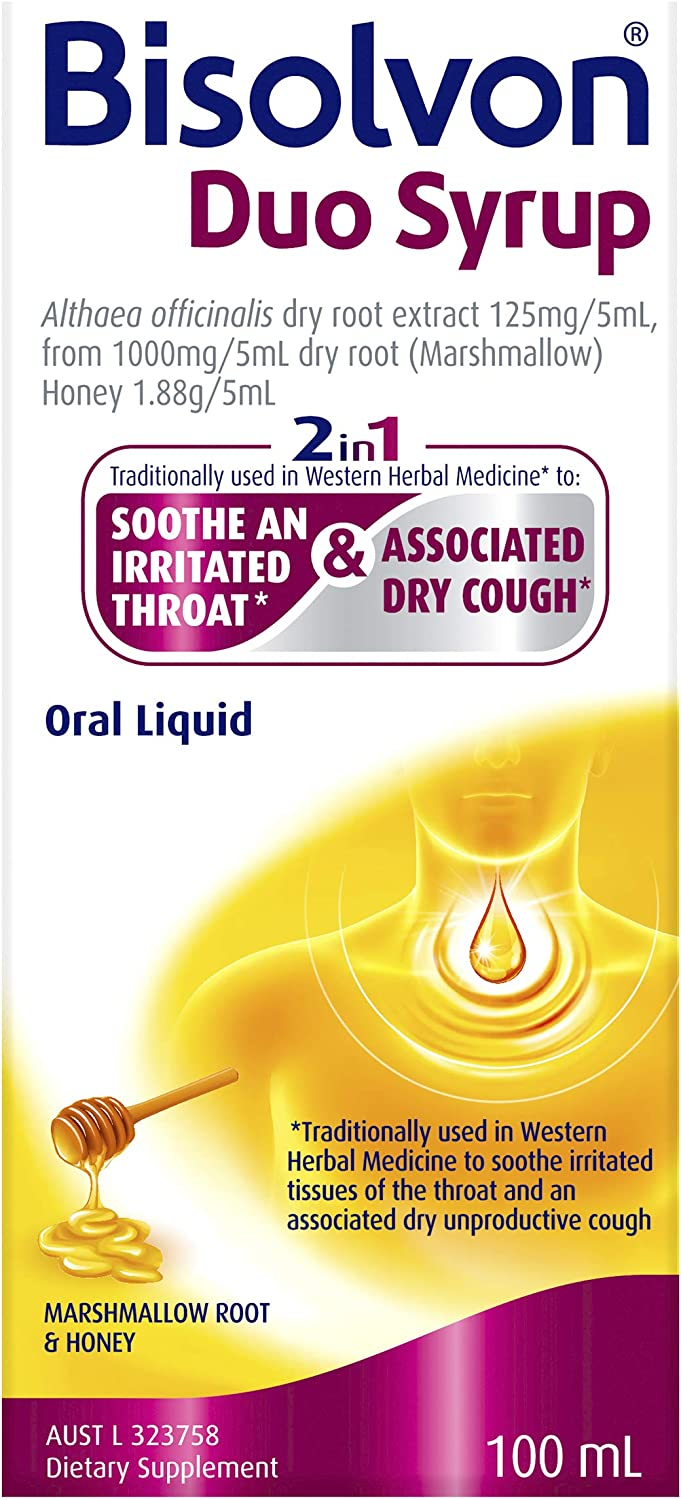 Bisolvon Duo Syrup, Traditionally Used to Soothe Irritated Throat Tissues and Relieve Associated Dry Cough, 100ml