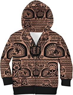 Rainbow Rules Maui Tattoos Inspired Disney Moana Kids Zip Up Hoodie Unisex