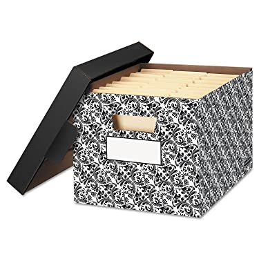 BANKERSBOX 22705 STOR/FILE Decorative Medium-Duty Storage Boxes, Letter, Black/White Brocade
