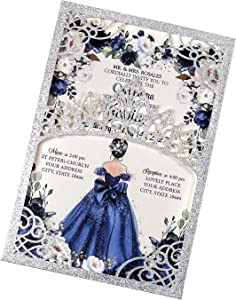 DreamBuilt 5x7.2 inch 50PCS Blank Silver Glitter Quinceanera Invitations Kit Laser Cut Hollow Crown Pocket Quinceanera Invitation Cards with Envelopes for Bridal Shower Quincenera Birthday Invite