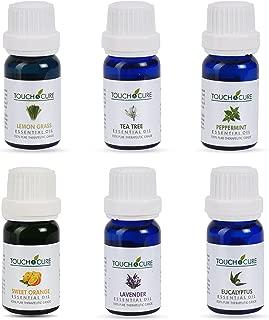 Touch & Cure Aromatherapy Essential Oils,100% Pure Therapeutic grade,Premium Pack- 6/10 ml (Lavender, Peppermint, Eucalyptus,Lemon Grass,Tea Tree & Sweet Orange) Diffuser Oil Gift-Set,