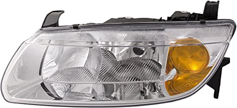 HEADLIGHTSDEPOT Chrome Housing Halogen Headlight Compatible with Saturn L100 L200 L300 LW200 LW300 Sedan/Wagon Includes Left Driver Side Headlamp