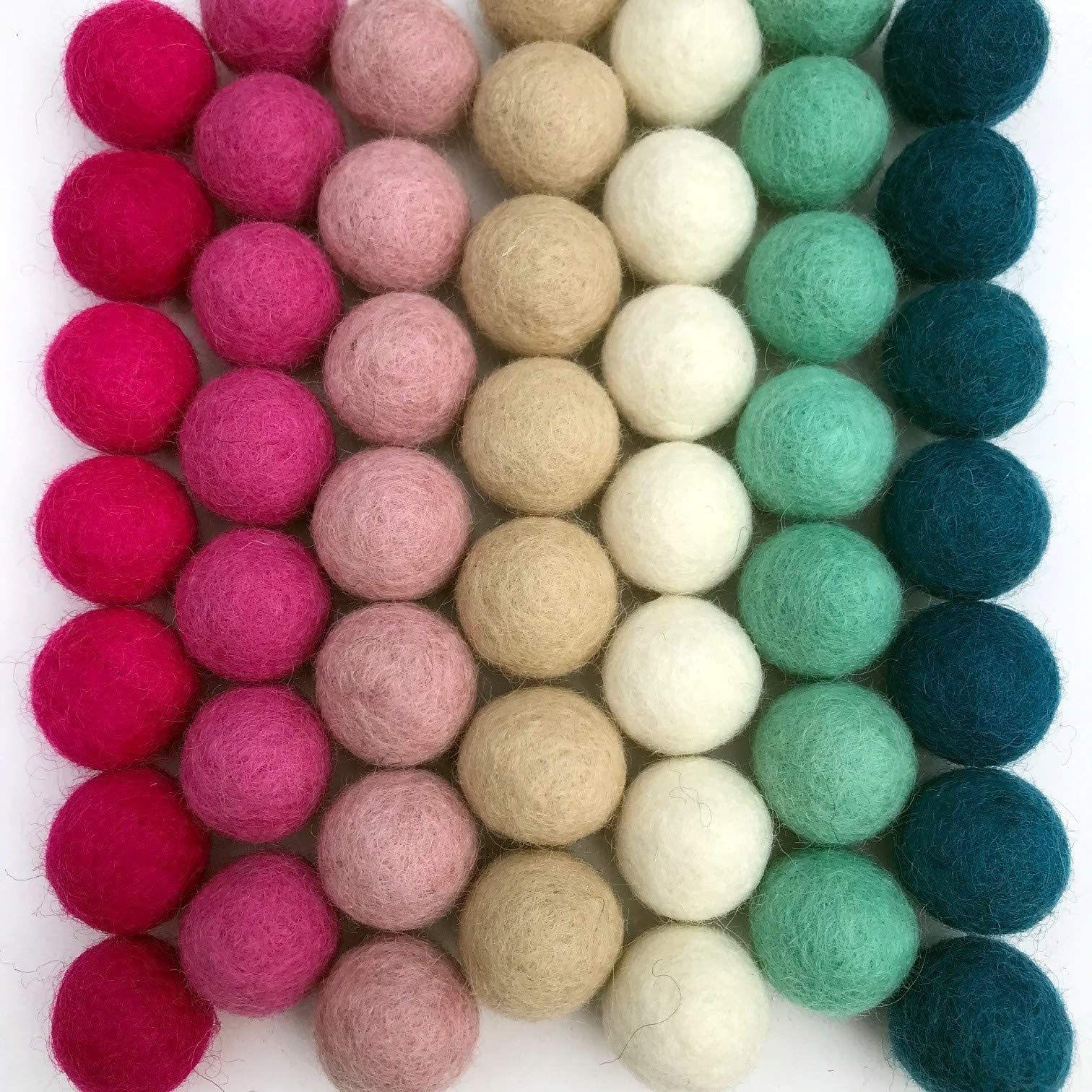 Chocolate Wool Felt Pom Pom Balls set of 12