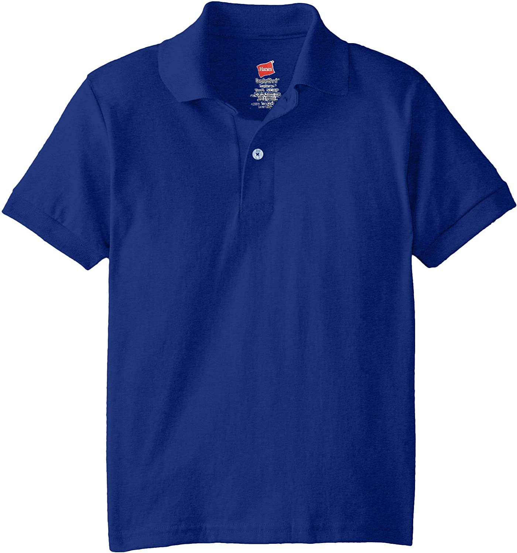 Hanes Boys' Short Sleeve Eco Smart Jersey Polo