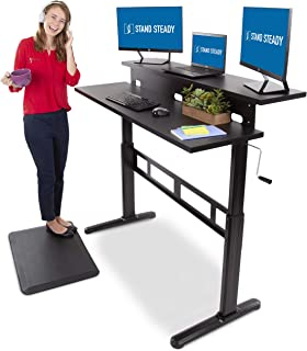 Stand Steady Tranzendesk 55 Inch Dual Level Standing Desk | Go from Sitting to Standing with Easy Crank Handle | Sit to Stand Up Desk (Black Top/Black Frame)