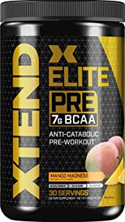 XTEND Elite Pre BCAA Powder Anti-Catabolic Pre Workout Drink with Branched Chain Amino Acids BCAAs, Mango Madness, 30 Servings
