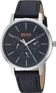 Orange Men's 'Copenhagen' Quartz Stainless Steel and Leather Casual Watch, Color:Black (Model: 1550065)