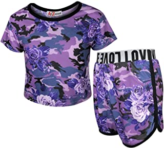 Kids Girls Crop Top & Shorts Floral Tie Dye Leopard Unicorn Summer Outfit Sets