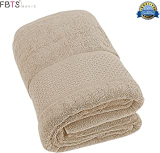 FBTS Basic Bath Towel (1-Pack, Brown, 31x59 Inches) Pure Cotton Luxury Highly Absorbent Extra Soft Professional Grade Five-Star Hotel Quality