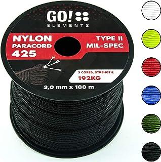GO!elements 100m Paracord Seil aus reißfestem Nylon - 3mm Paracord 425 Typ II max. 192kg - Schnüre als Outdoor Seil, Allzweckseil, Survival Seil, Armband, Hundeleine, Nylonschnur