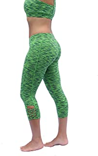 Women's Yoga Pants | Workout Leggings Capri Running Yoga Fitness | Mid Rise with Hidden Pocket in Waistband