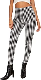 Women's Fashion Gingham High Waist Skinny Pants Plaid Long Trousers