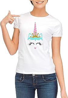 Cute unicorn face with crown. Unicorn head. white t-shirt
