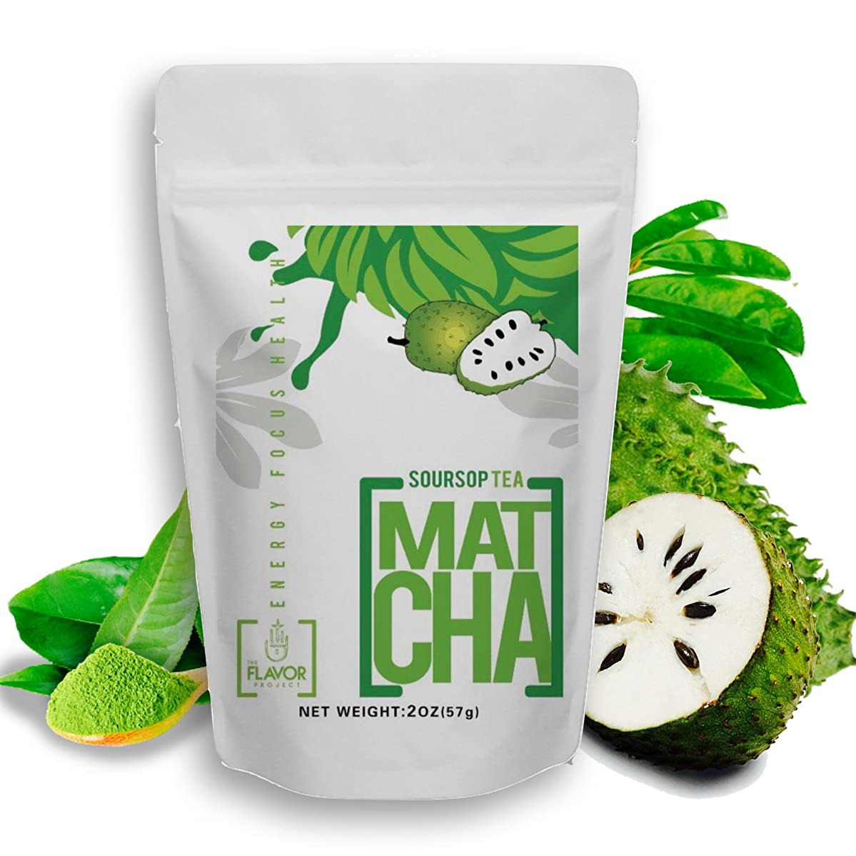 Organic Soursop Tea Powder with Matcha for Ultimate Health and Wellness - 35 Servings