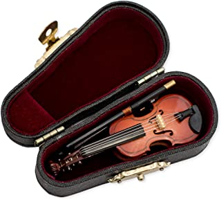 Violin Music Instrument Miniature Replica on Stand with Case, Size 3 in.