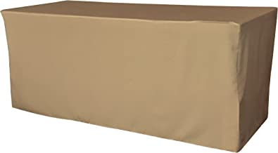 """LA Linen Polyester Poplin Fitted Tablecloth, 96""""L x 30""""W x 30""""H, Taupe"""