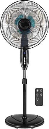 Best Choice Products Adjustable 16in Oscillating Pedestal Fan w/ 7.5 Hour Timer, Double Blades, Remote Control - Black