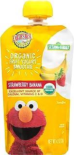 Earth's Best Organic Sesame Street Toddler Fruit Yogurt Smoothie, Strawberry Banana, 4.2 Oz Pouch (Pack of 12)