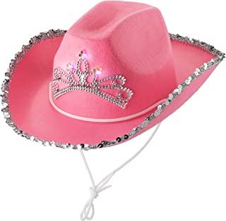 Pink Cowgirl Hat (Pack Of 2) Princess Light Up Hat, With Blinking Tiara And Neck Draw String, Fits For Most Kids, For Dres...