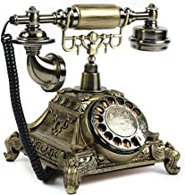 $65 » Vintage Telephone, Resin Gold Retro Rotary Dial Phone Handset Turntable Telephone Corded Antique Landline for Home Office ...